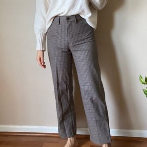 Brown and blue plaid high rise wide leg pants